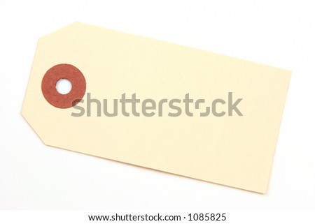 Ivory colored tag with ring over a white background.