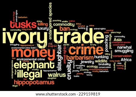 Ivory trade - environmental crime issues and concepts word cloud illustration. Word collage concept.