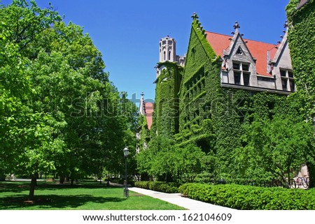 Ivy clad halls against blue sky of the University of Chicago campus - stock photo