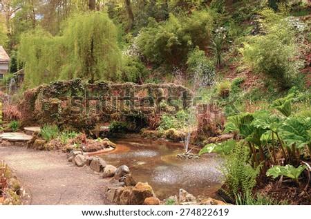 Ivy Covered Bridge and Water Garden in Simmons Park, Okehampton on Dartmoor, Devon, England, UK - stock photo