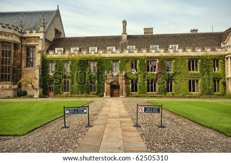 Ivy covered wall of Trinity College,Cambridge, UK - stock photo