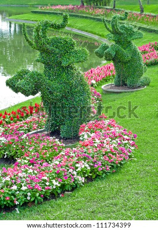 Ivy in the shape of elephants in garden of thailand - stock photo