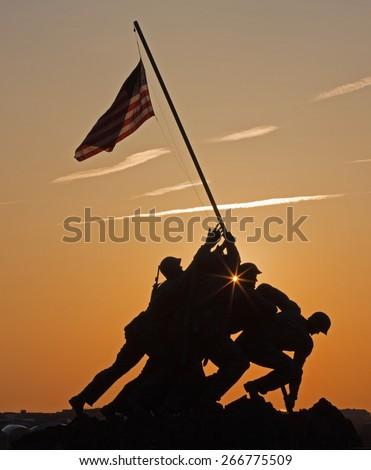 Iwo Jima memorial washington DC predawn - stock photo