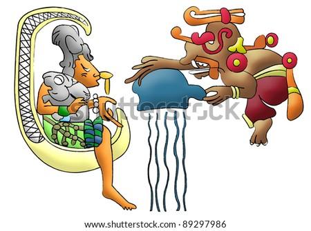 Ix Chel and Chaac, Aztec - mayan deities of the moon and rain - stock photo