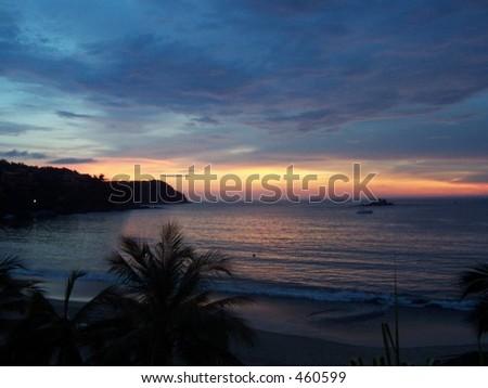 ixtapa sunset - stock photo