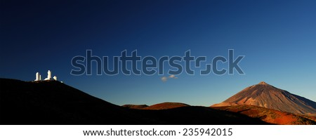 Izana astronomical observatory and Teide Volcano, Tenerife, Canary Islands, Spain  - stock photo
