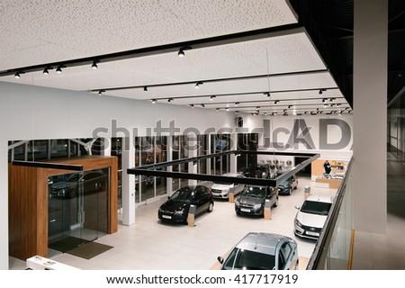 IZHEVSK-RUSSIA-07 MARCH 2016 - Brand new design of the Lada Showroom interior - stock photo