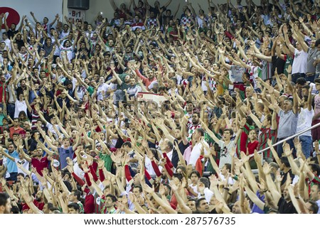 IZMIR - JUNE 06: Pinar Karsiyaka's BOBBY ROBERT LEE DIXON dribling to the basket in Turkish Basketball League game between Pinar Karsiyaka 82-64 Fenerbahce Ulker on June 06, 2015 in Izmir - stock photo