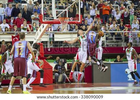 IZMIR - OCTOBER 31: Trabzonspor's Darius Johnson Odom jumps for the ball in Spor Toto Basketball League game between Pinar Karsiyaka 74 - 71 Trabzonspor Medical Park on October 31, 2015 in Izmir - stock photo
