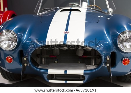 IZMIR, TURKEY - JULY 2016: 1965 Shelby Cobra. The Key Museum was born in the soul of the collectors Murat Ozgorkey, Vice President Selim Ozgorkey and the Chief Executive Officer of E.Ozgorkey