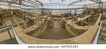 Izmir,Turkey - May 25, 2017 : Ephesus terrace houses ruins view in Turkey. They were the houses of wealthy people living in the city