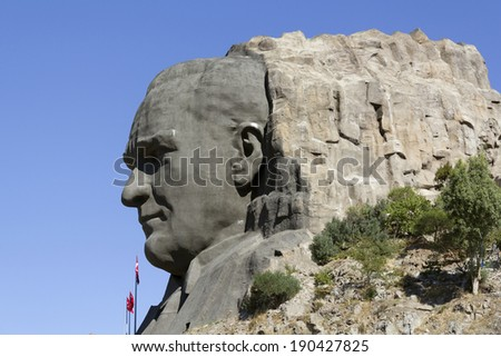 IZMIR, TURKEY - September 13 : Ataturk relief at Buca on September 13, 2013 in Izmir. This relief is the most biggest in Turkiye and it's 10th in the World.