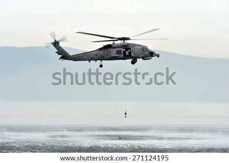 IZMIT, TURKEY - May 24, 2014 - Military exercises Turkish Navy, the Marmara Sea on May 24  2014 in Izmit, Turkey.  Rescue helicopter