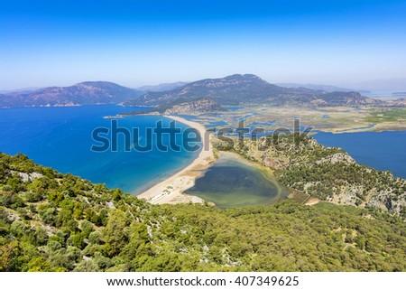 Iztuzu Beach and Dalyan panorama view from mountain - stock photo