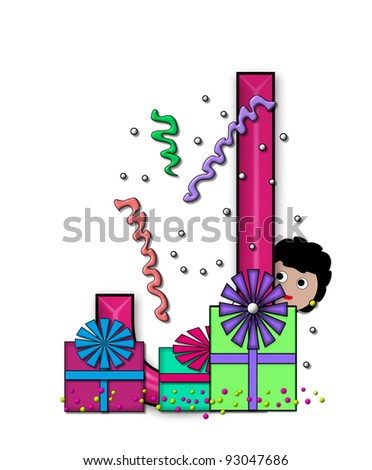 """J, in the alphabet set """"Birthday Letters"""", is surrounded by colorfully wrapped presents complete with bows.  Woman hides behind presents and peeks out pretending surprise. - stock photo"""
