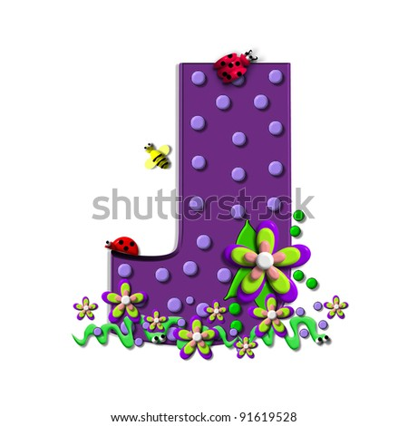 """J, in the alphabet set """"Buzzing Garden"""", is decorated with three dimensional polka dots and a three layer flower.  Purple letters are decorated with lady bugs, snakes and bees. - stock photo"""