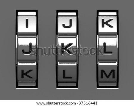 J, K, L letters from combination lock alphabet
