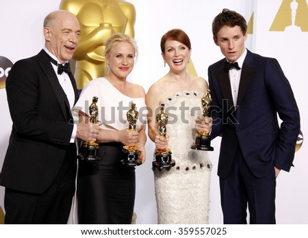 J.K. Simmons, Patricia Arquette, Julianne Moore and Eddie Redmayne at the 87th Annual Academy Awards - Press Room held at the Loews Hollywood Hotel in Los Angeles, USA February 22, 2015. - stock photo