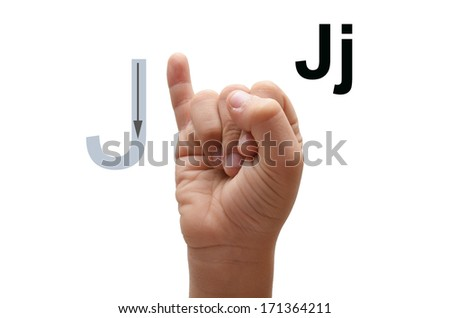 J kid hand spelling american sign language ASL - stock photo