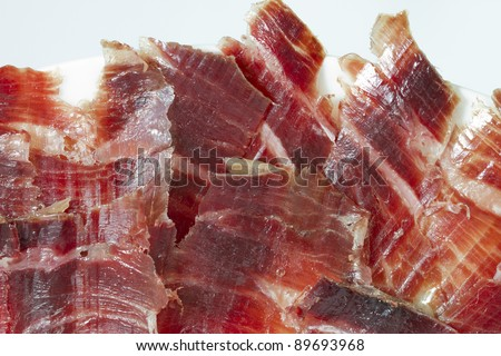 jabugo ham plate isolated on white