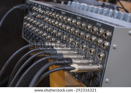 jack behind a Audio Mixing Board - stock photo