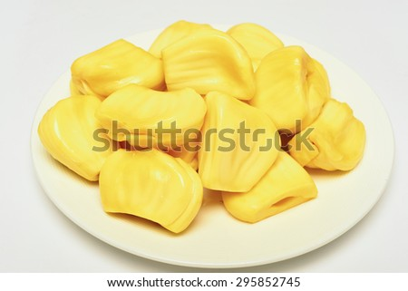 jack-fruit on a white plate