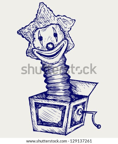 Jack in the box. Doodle style. Raster version - stock photo