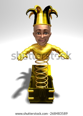 Jack in the box figure in Gold and a human face - stock photo