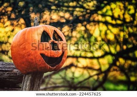 Jack O Lantern 2. A jack o lantern resting on a country fence during the Halloween autumn season. Edited in vintage photography style. - stock photo