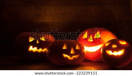 Jack O' Lantern at Night - stock photo