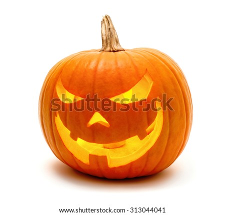 Jack o Lantern Halloween pumpkin grinning in the most evil fashion, isolated on white - stock photo