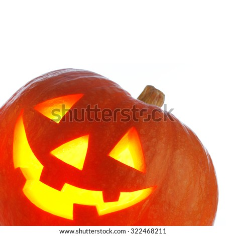 Jack O' Lantern Halloween pumpkin isolated on white background - stock photo