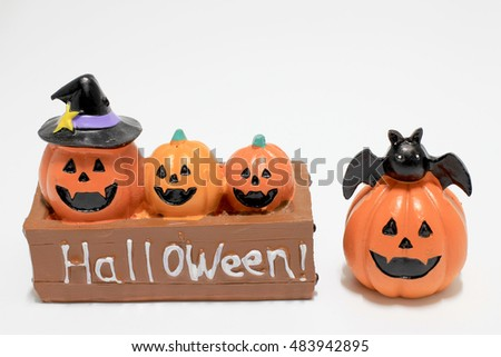 Jack-o'-lantern, Halloween, pumpkin isolated on white background
