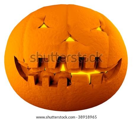 Jack-o-lantern isolated on white background - stock photo