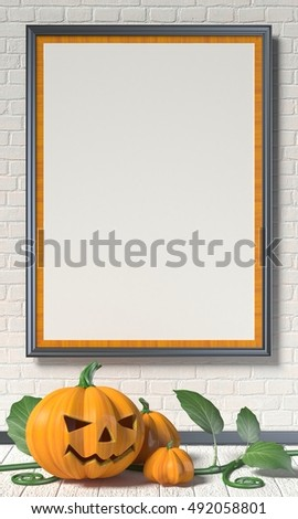 Jack O Lantern pumpkin, green leafs and mock up blank poster on white wall. 3D render illustration background