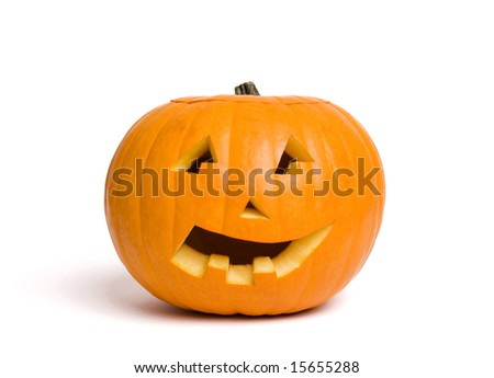 jack-o-lantern pumpkin isolated on white - stock photo