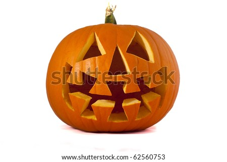 Jack O Lantern pumpkin Isolated on white. - stock photo