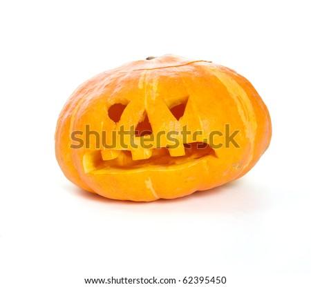 Jack-o-lantern pumpkin isolated on white background - stock photo