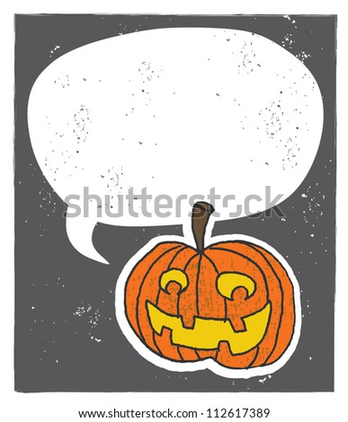 Jack-O-Lantern Speech Bubble A happy little jack-o-lantern with a speech bubble. Add in your own type to convey your message. Perfect for halloween! - stock photo
