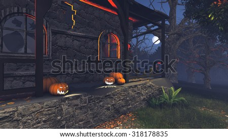 Jack-o-lanterns on the porch of the gloomy house at at moonlight night. Realistic 3D illustration was done from my own 3D rendering file. - stock photo