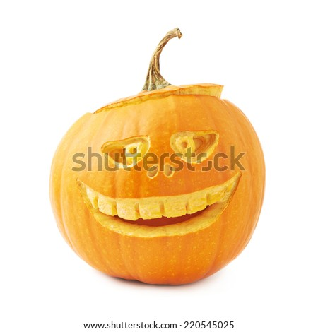 Jack-o'-lanterns orange halloween pumpkin head with the scary facial expression carved on it, isolated over the white background - stock photo