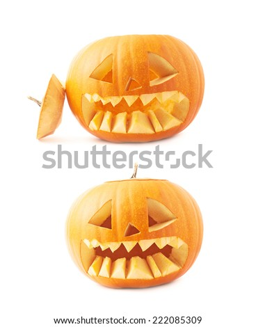 Jack-o'-lanterns orange halloween pumpkin head with the sharp teeth and scary facial expression, isolated over the white background, set of two foreshortenings - stock photo