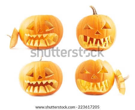 Jack-o'-lanterns orange halloween pumpkin head with the sharp teeth and scary facial expression, isolated over the white background, set of four foreshortenings - stock photo