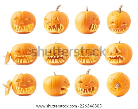 Jack-o'-lanterns orange halloween pumpkin head with the sharp teeth and scary facial expression, isolated over the white background, set of twelve foreshortenings - stock photo