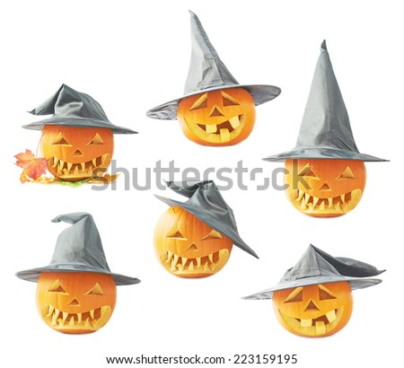 Jack-o'-lanterns orange pumpkin head in a black pointed cone shaped wizard's hat, composition isolated over the white background, set of six foreshortenings - stock photo