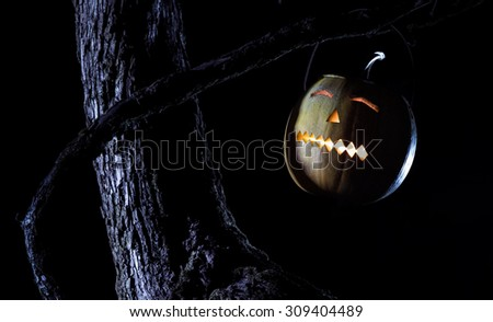 Jack O lanterns pumpkin - halloween night - stock photo