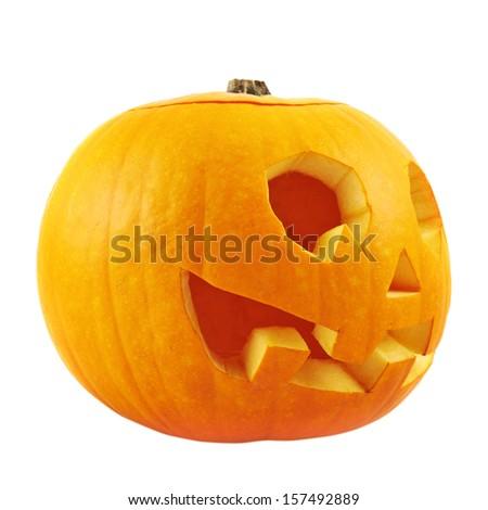 Jack-o'-lanterns pumpkin isolated over white background - stock photo
