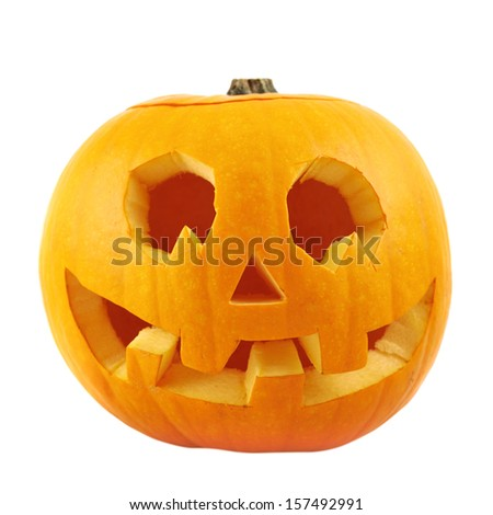 Jack-o'-lanterns pumpkin isolated over white background - stock photo