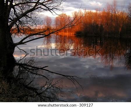 Jack River sunset, Richmond, Canada - stock photo