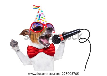 jack russell dog  as a surprise, singing birthday song like karaoke with microphone wearing  red tie and party hat  , isolated on white background - stock photo